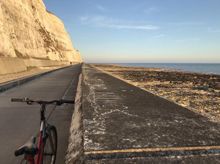 Under cliff walk at sunset, Brighton